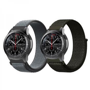 Set 2 curele din nylon cu adeziv si telescop QuickRelease 22mm pentru Samsung Active / Gear S3/ Huawei Watch 2 verdegri