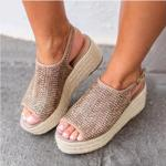 Sandale impletite pentru femei, cu talpa tip platforma ?i decupate la varf, sandale casual pentru vacanta, cu catarama