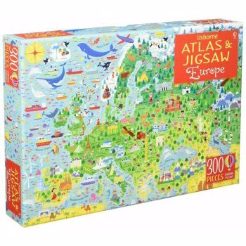 """Set Puzzle """"Europe atlas and jigsaw"""" , 5 ani+, Usborne"""
