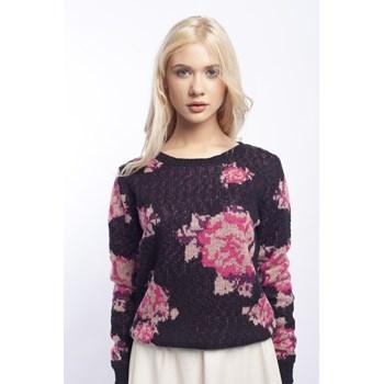 Pulover model floral Vila negru-roz
