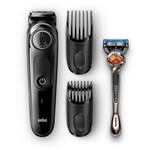 Aparat profesional de tuns barba, Braun, lame metal, aparat de ras Gillette cadou, accesorii