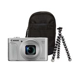 Aparat Foto Digital Canon PowerShot SX730 HS, 20.3 MP, Filmare Full HD, Zoom optic 40x (Argintiu) + Trepied + Husa