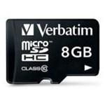 Card de memorie Verbatim microSDHC, 8 GB, Clasa 10 + Adaptor