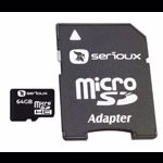 Micro Secure Digital Card Serioux, 64GB, SFTF64AC10, Clasa 10, cu adaptor SDHC