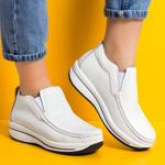 Pantofi dama casual piele naturala albi Catrina -rl