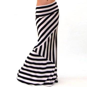 Fusta lunga ?i elastica pentru femei, cu imprimeu model dungi, fusta slim, potrivita pentru timpul liber