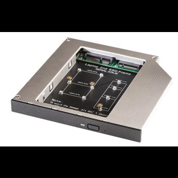 Adaptor HDD Caddy OEM SSD M2/mSATA pentru unitati optice de tipul 12.7 mm