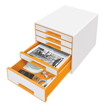Cabinet cu sertare, 5 sertare, portocaliu, LEITZ WOW