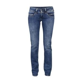 Blugi albastri regular fit cu talie joasa Pepe Jeans Venus
