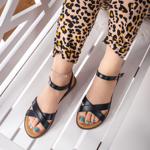Sandale dama cu talpa joasa negre Retema