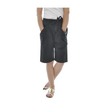 Pantaloni scurti negri din bumbac cu buzunare  laterale
