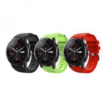 Set 3 curele din silicon universale 22mm compatibile cu Samsung Gear S2 / S3/ Huawei Watch 2 negru rosu verde