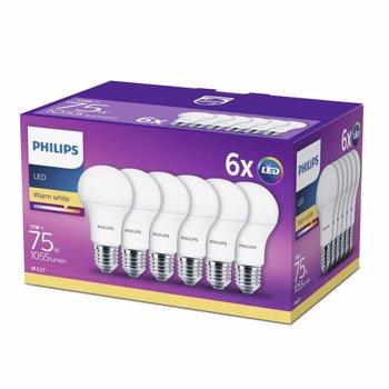 Set 6 becuri LED Philips, E27, 11W (75W), 1055 lm, A+, lumina calda