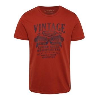 Tricou rosu din bumbac Jack & Jones Custom 6 cu print
