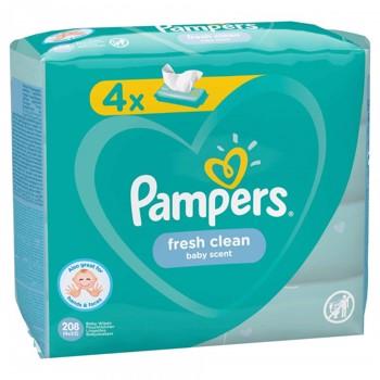 Servetele umede Pampers Fresh Clean Quattro, 4 x 52 buc/pachet