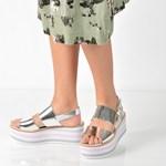Sandale ALDO argintii, Abaede, din piele ecologica