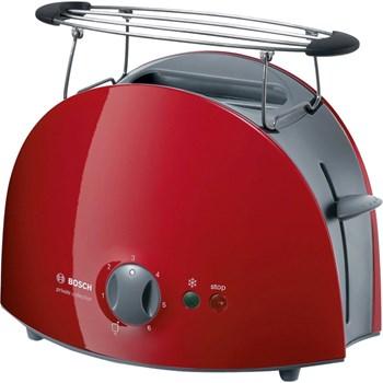 Prajitor de paine Bosch TAT6104, 900 W, 2 felii de paine, Gri/Rosu