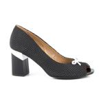 Pantofi femei Enzo Bertini negru cu alb din piele cu toc mediu 1899DD1637N