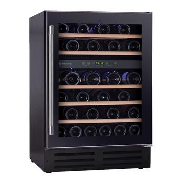 Vitrina de vinuri incorporabila Hoover HWCB 60, 145 l, Capacitate 46 sticle, Clasa G, 2 zone de racire, Iluminare LED, 60 cm, Nergu