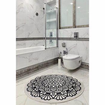 Covor de baie, Chilai Home by Alessia, 100 cm, 359CHL4140, acrilic, Alb/Negru