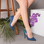 Pantofi dama Stiletto Amalia bleumarin cu flori