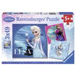 Puzzle Ravensburger - Frozen Elsa, Anna si Olaf, 3x49 piese