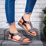 Sandale dama cu platforma negre Limeria