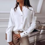 Bluza de primavara ?i vara pentru femei, culoare uni, pentru timpul liber, bluza moderna cu maneca lunga ?i nasturi metalici