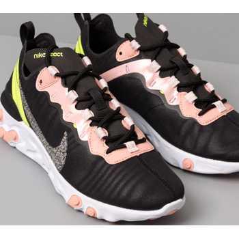 Nike W React Element 55 Premium Black/ Volt-Coral Stardust