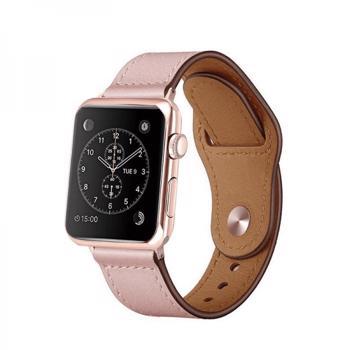 Curea din piele genuina pentru Apple Watch 1 / 2 / 3 / 4 / 5 series 38 / 40 mm roz