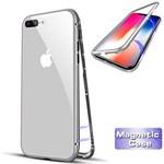 Husa Apple iPhone 8 Magnetica 360 grade Silver Perfect Fit cu spate de sticla securizat+folie de sticla pentru ecran gratis 01hmip8ar+F