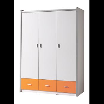 Dulap din pal si metal cu 3 usi si 3 sertare, pentru copii Bonny Alb / Portocaliu, l140,5xA59xH202 cm