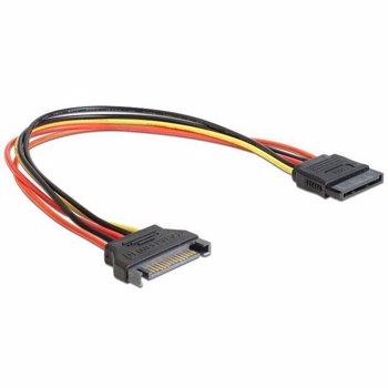 Delock Cable Power SATA 15 Pin male > SATA 15 Pin female extension 30 cm
