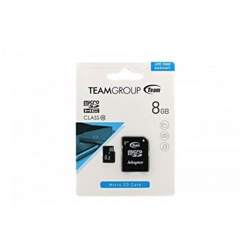 Card de Memorie Team Group microSDHC 8GB Clasa 10 + Adaptor SD mcmiz8a