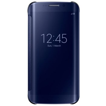 Husa Clear View Cover Samsung pentru Galaxy S6 Edge, Negru
