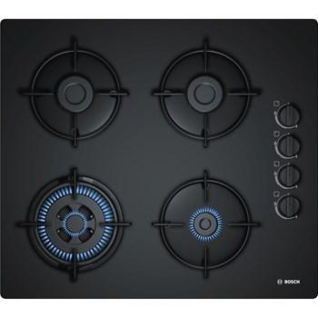 Plita gaz incorporabila Bosch POH6B6B10 Serie 2, 60cm, 4 arzatoare, sticla neagra