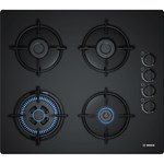 Bosch Plita incorporabila gaz POH6B6B10, 4 arzatoare, aprindere electrica, suporturi otel, negru