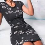 Rochie moderna slim pentru femei, sexy ?i vintage, cu imprimeu ?i maneca scurta