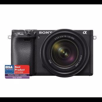 Aparat foto Mirrorless Sony Alpha A6400 MB, 24.2 MP, APS-C, E-mount, 4K HDR, 4D Focus, Time-lapse, ISO 100-32000, Negru + Obiectiv SEL18135 18-135 mm