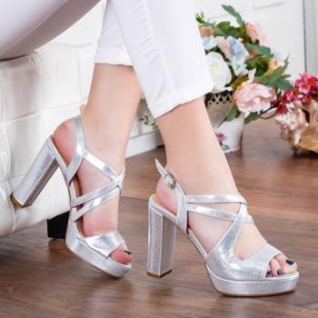 Sandale Uzma argintii cu toc -rl-M