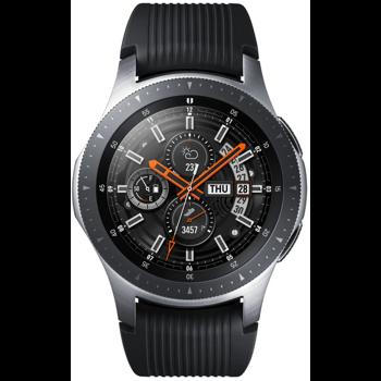 SmartWatch Samsung Galaxy Watch 2018, 46 mm, corp argintiu, curea silicon negru, Wi-Fi, Bluetooth, GPS si NFC, rezistent la apa, apeluri