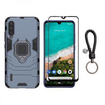Set protectie 2 in 1 pentru Xiaomi Mi 10 Lite cu husa hybrid antisoc cu stand inel si folie sticla fullsize si breloc cadou dark blue