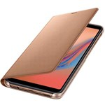 Husa de protectie Samsung Wallet Cover pentru Galaxy A7 (2018), Gold