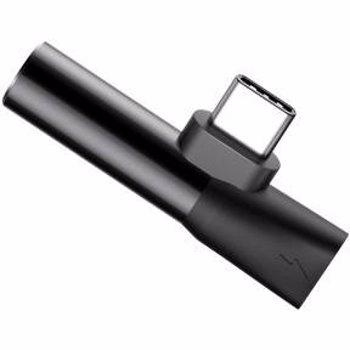 Adaptor Baseus L41 Type-C la port Type-C si port Jack 3.5mm Negru catl41-01