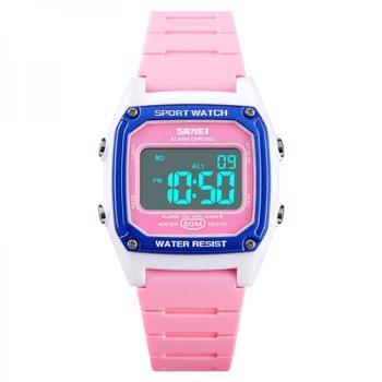 Ceas de copii SKMEI 1614 digital sport alarmadatailuminare waterproof 5ATM roz