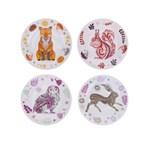 Set de patru farfurii din portelan albe cu print animale - Magpie