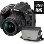 Kit Aparat foto Nikon D3400 (obiectiv AF-P 18-55 VR) + geanta Nikon + card 8GB SD, 3 ani garantie body