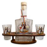 Set sticla (250 ml) si 2 pahare (3.4cl) cu suport din lemn