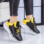 Pantofi sport dama negri cu galben Sigulia