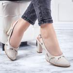 Pantofi dama Piele cu toc bej Bisun-20
